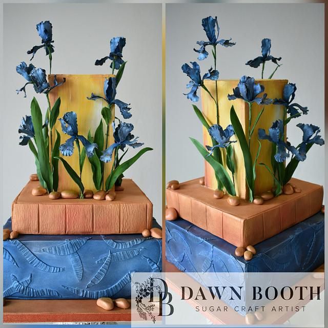 Van Gogh themed wedding cake
