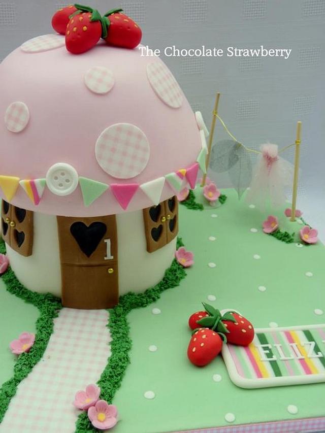 'Fabric' Fairy Toadstool Cake (with fairy washing line)