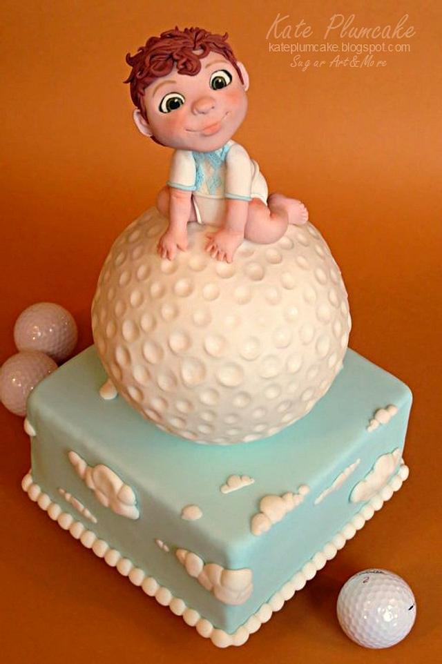 Baby golfer cake