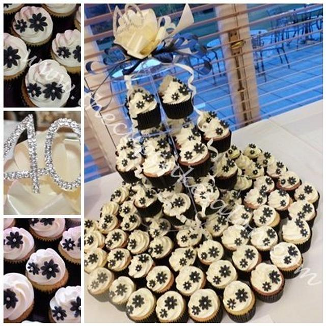 black and white themed party cupcakes