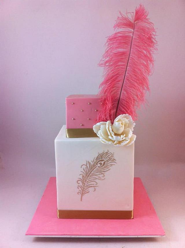 Wedding Cake with Giant Feather