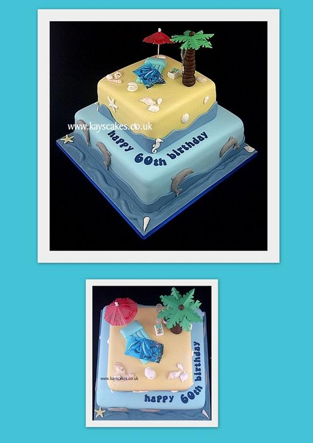 60th Birthday Cake - Beach Themed for Holiday Lover.