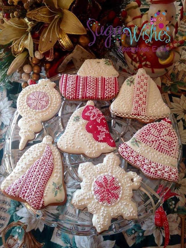 Red and White Christmas Cookie and Cookie Ornaments