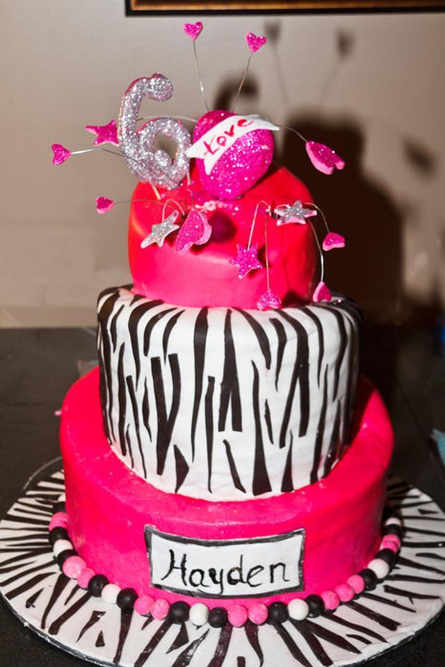 Fabulous Hot Pink And Zebra Stripe Topsy Turvy Birthday Cake Cakesdecor Funny Birthday Cards Online Overcheapnameinfo