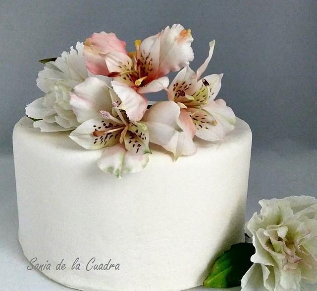Alstroemerias on a cake