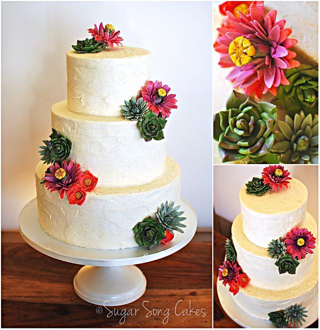Cactus Flower and Succulent buttercream wedding cake