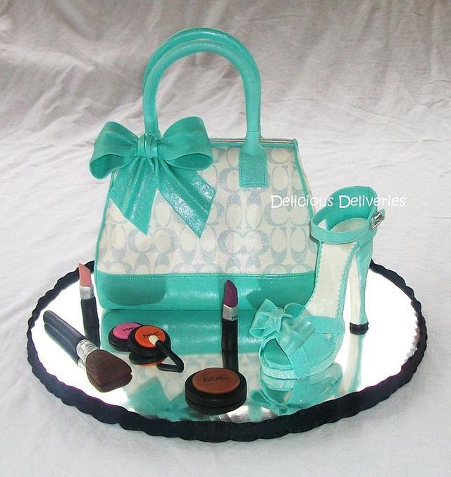 Tiffany Inspired Coach Purse Cake with Platform Shoe