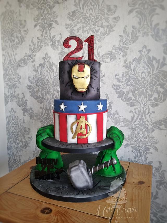 Swell Marvel Avengers 21St Birthday Cake Cake By Jo Cakesdecor Funny Birthday Cards Online Alyptdamsfinfo