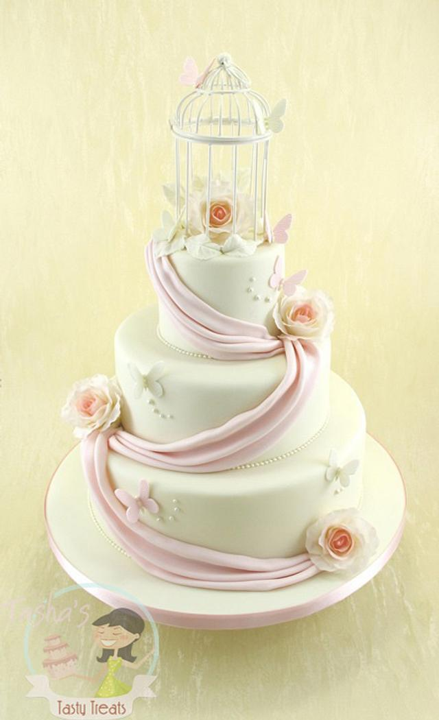 Vintage Birdcage Wedding Cake with Sugar Roses and Swags