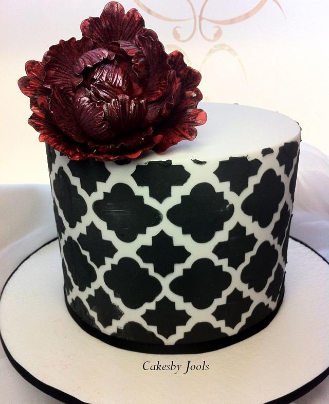 Moroccan stenciled birthday cake