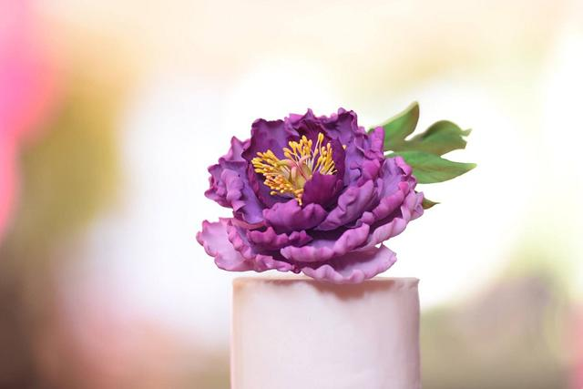 Purple peony wedding cake