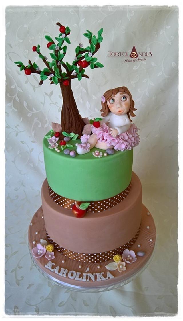 Sweet girl & her apple tree