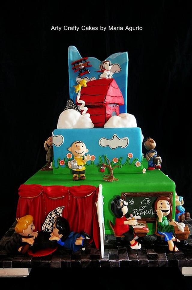 Peanuts cartoon strip inspired cake