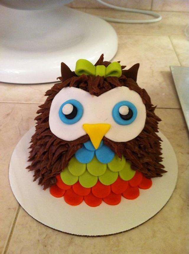 1st birthday owl smash cake