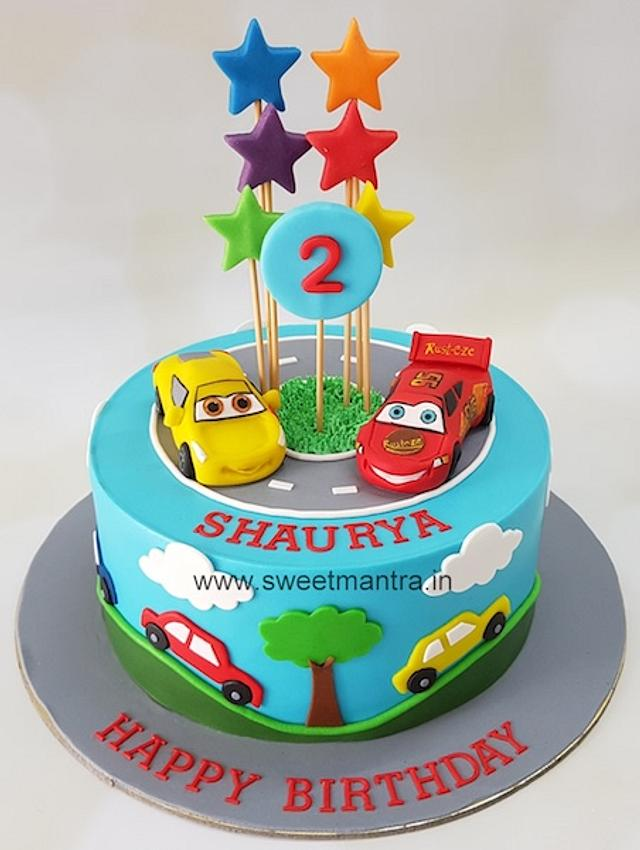 Outstanding Cars Theme Customized Designer Cake For Boys 2Nd Cakesdecor Funny Birthday Cards Online Alyptdamsfinfo