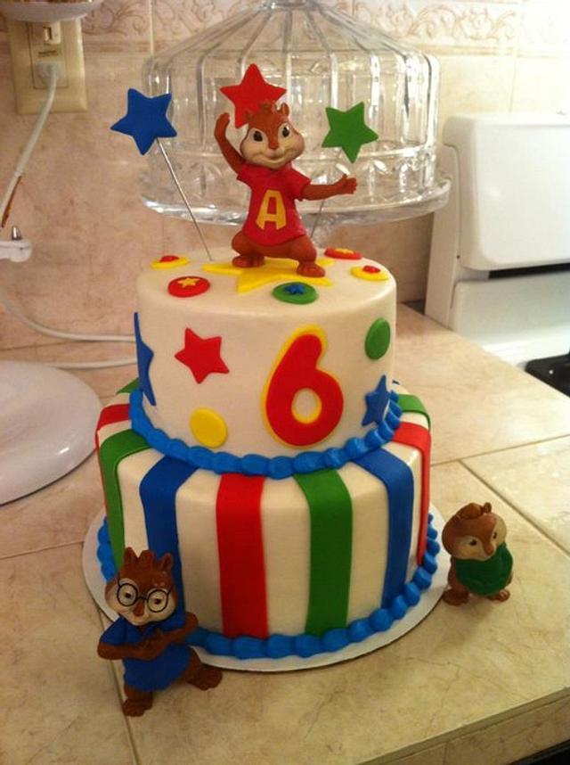 Astounding Alvin The Chipmunks Cake Cake By Christies Custom Cakesdecor Funny Birthday Cards Online Sheoxdamsfinfo