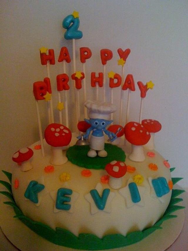 Small Time Smurf Birthday cake