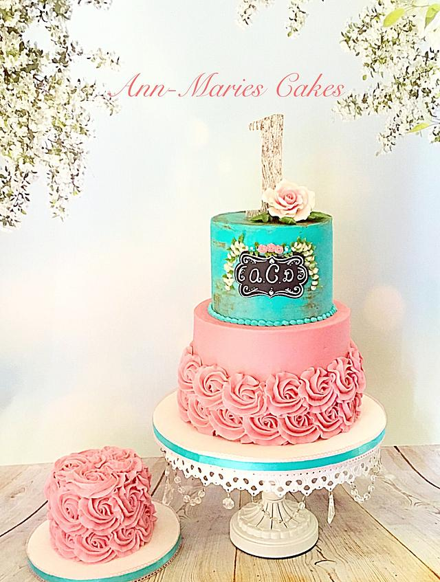 Wondrous Shabby Chic 1St Birthday Cake By Ann Marie Youngblood Cakesdecor Personalised Birthday Cards Vishlily Jamesorg
