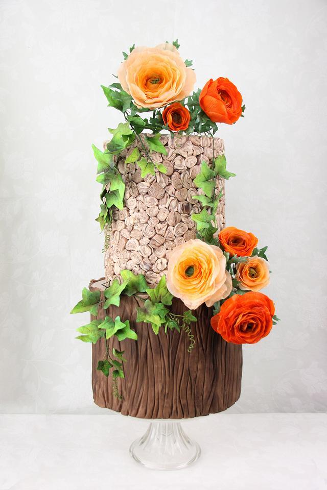 Rustic Rununculus Wedding Cake