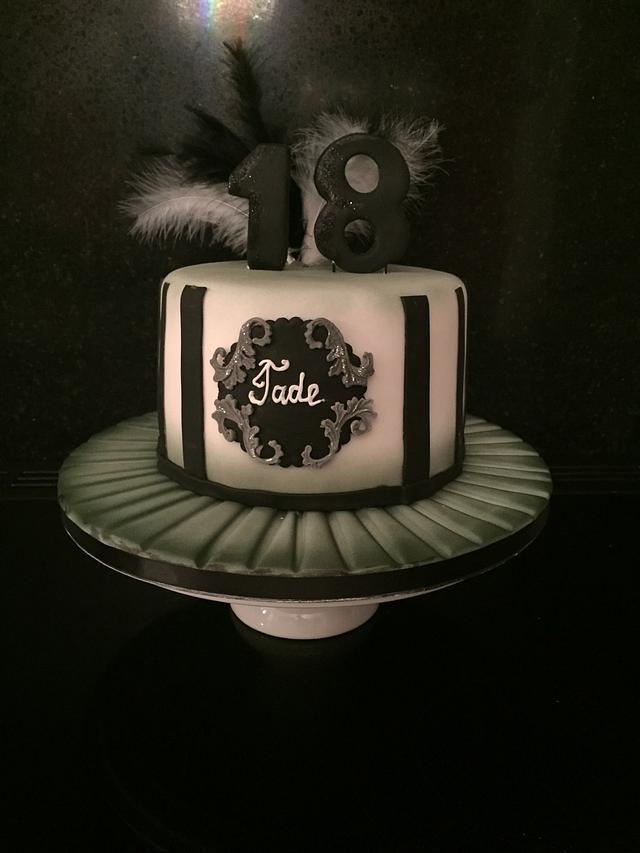 Chic ombré black and white cake
