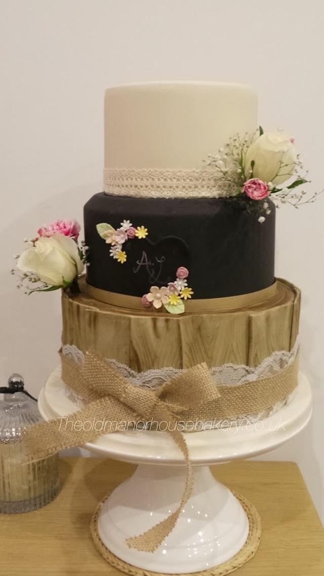 Rustic Chalkboard wedding cake