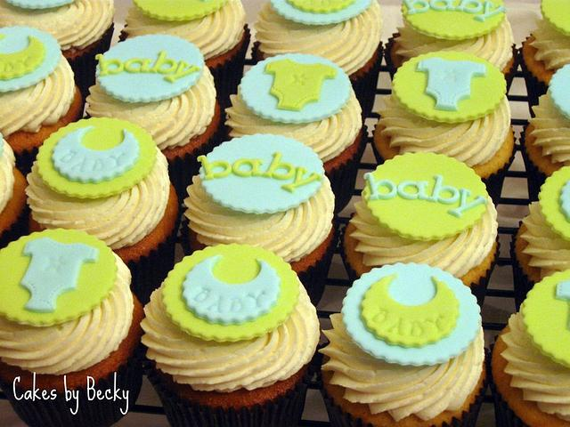 Blue & Green Baby Shower Cupcakes