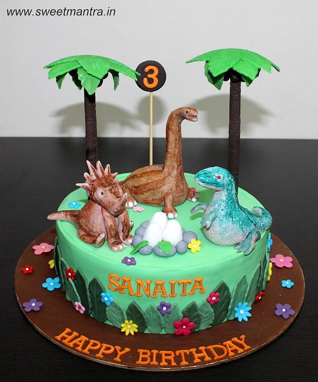 Sensational Dinosaur Theme Customized Fondant Birthday Cake Cake By Cakesdecor Personalised Birthday Cards Cominlily Jamesorg