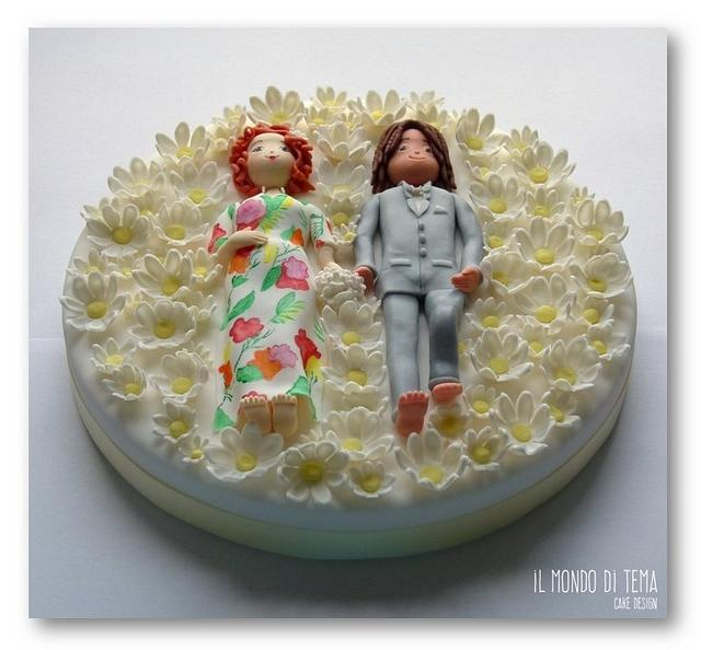 Just married among daisies