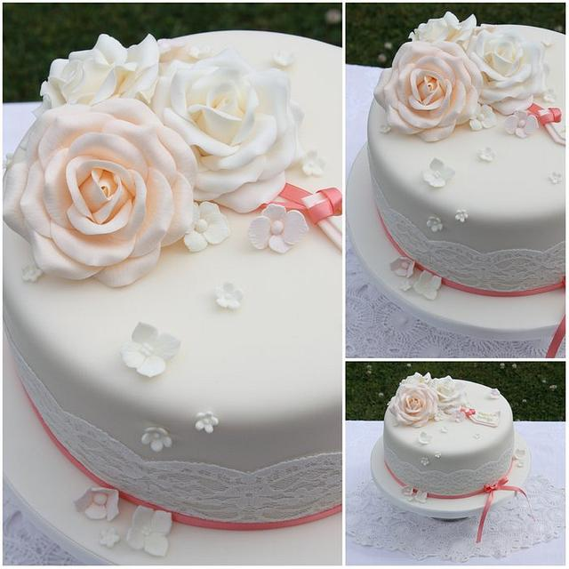 Vintage roses and lace birthday cake