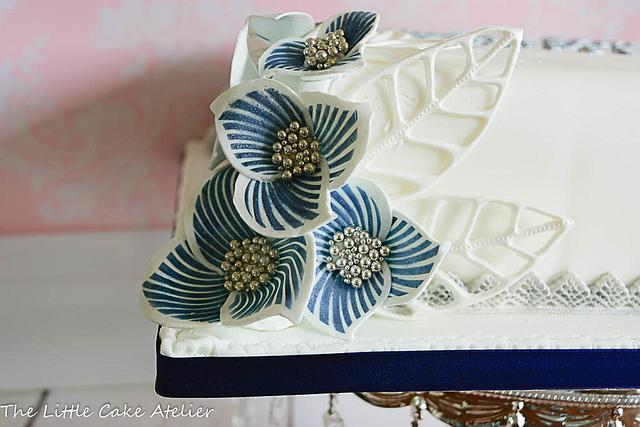 Silver and Blue celebration cake