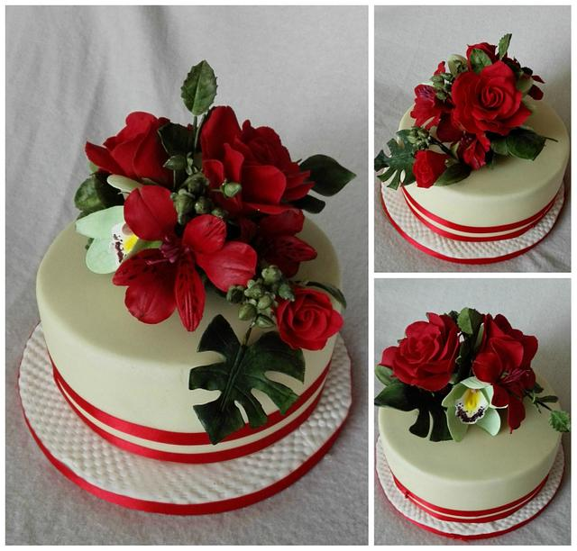 Bday cake with flowers