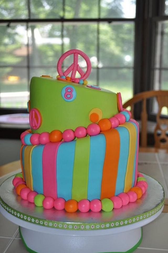 TieDye Groovy Peace Cake