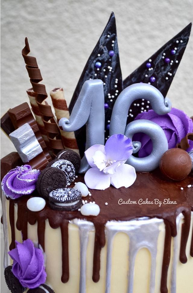 Purple Drippy Bday cake