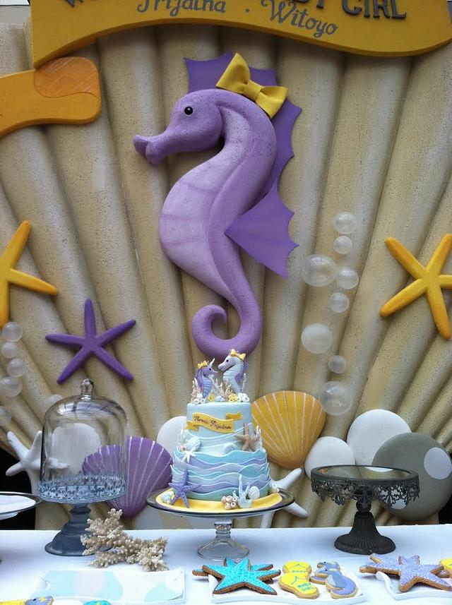SeaHorse Baby Shower Cake