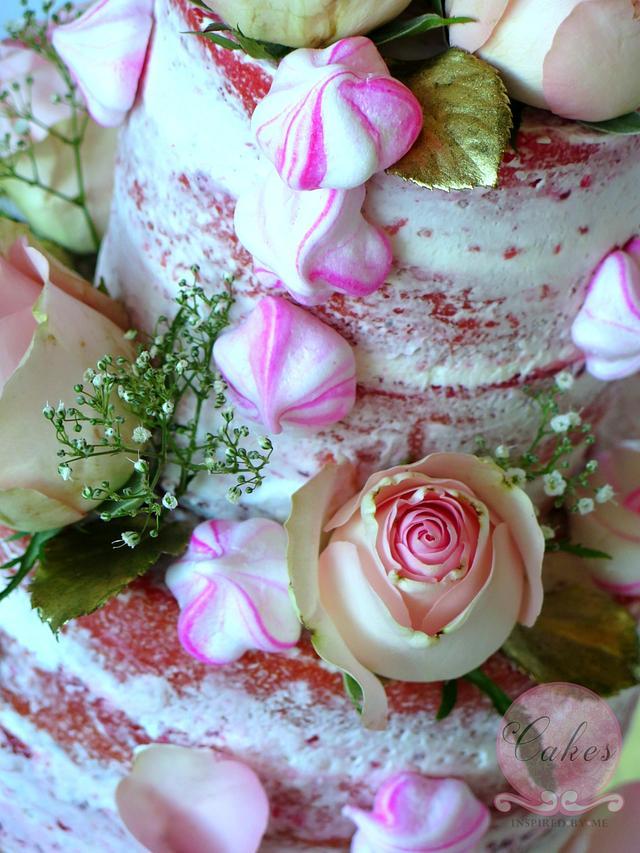 Pink velvet naked cake