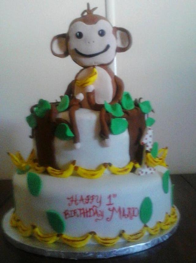 Astounding Monkeys 1St Birthday Cake By Ccs Creative Cakes And Cakesdecor Personalised Birthday Cards Petedlily Jamesorg