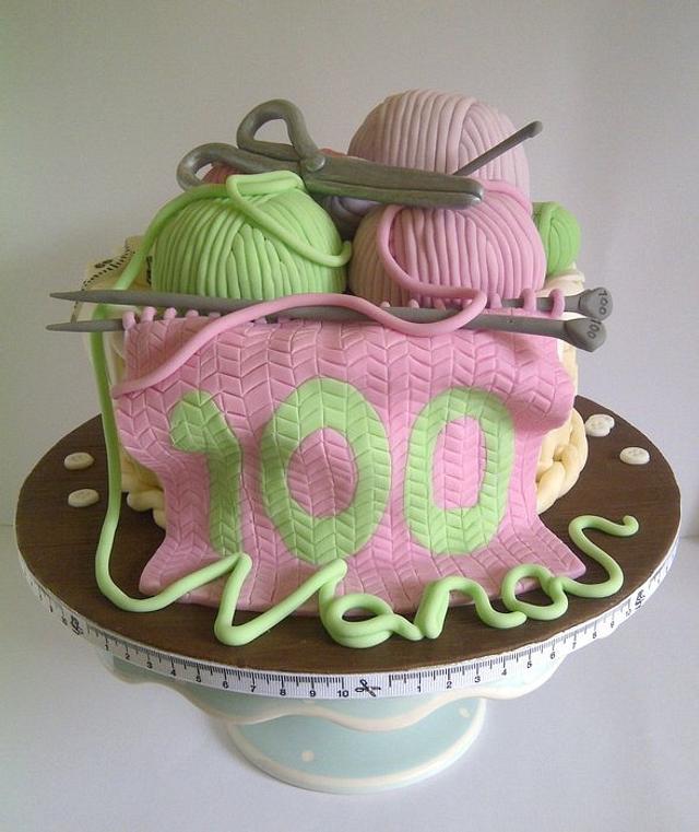 100th Birthday Knitting Basket Cake