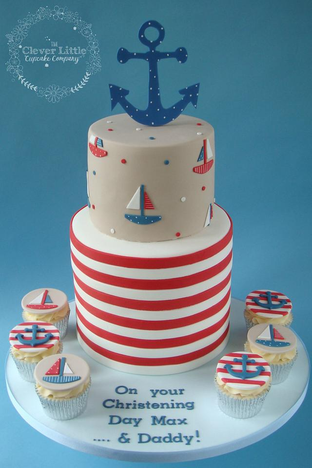 Nautical Themed Christening Cake