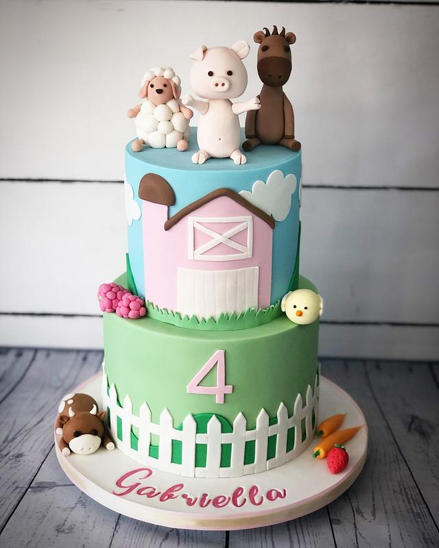 Cute farm yard cake
