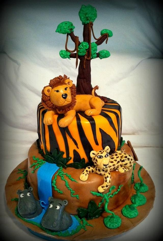 Excellent Safari Themed Birthday Cake Cake By Angel Rushing Cakesdecor Funny Birthday Cards Online Elaedamsfinfo