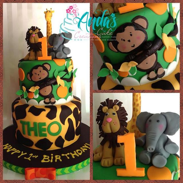 Admirable Jungle Safari 1St Birthday Cake Cake By Anda Nematalla Cakesdecor Funny Birthday Cards Online Alyptdamsfinfo