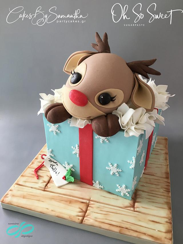 Rudolph Gift Box Cake!