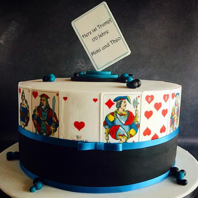 Awesome Card Game Birthday Cake Cake By Unas Cake Studio Cakesdecor Personalised Birthday Cards Cominlily Jamesorg