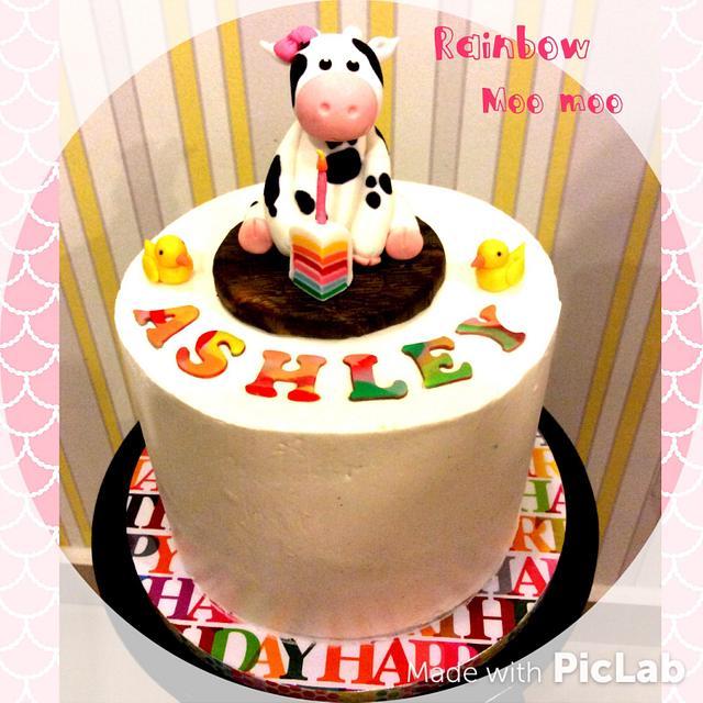 Moo Moo rainbow cake