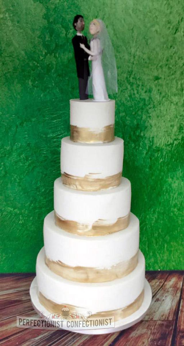 Sean and Deirdre - Gold and Ivory Wedding Cake
