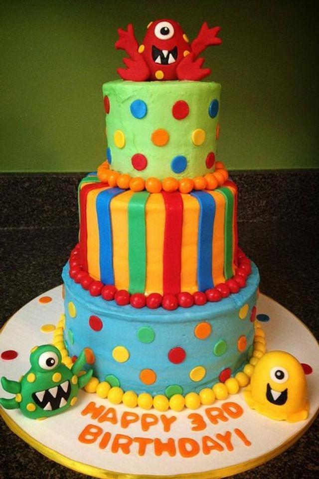 Outstanding Monster Birthday Cake Cake By Something Sweet Cakesdecor Personalised Birthday Cards Arneslily Jamesorg
