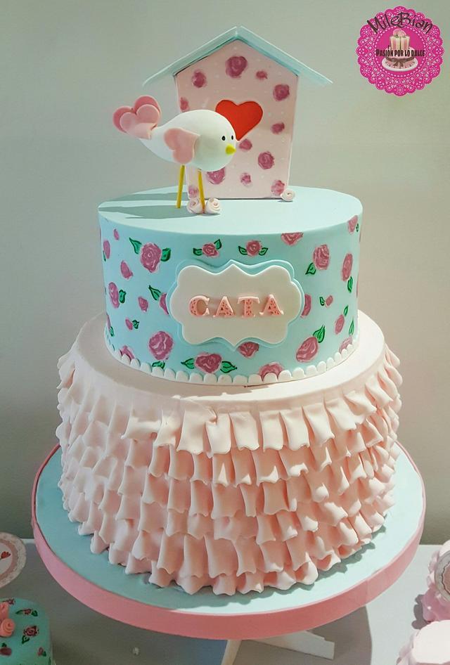 Shabby chic birds cake & dessert table