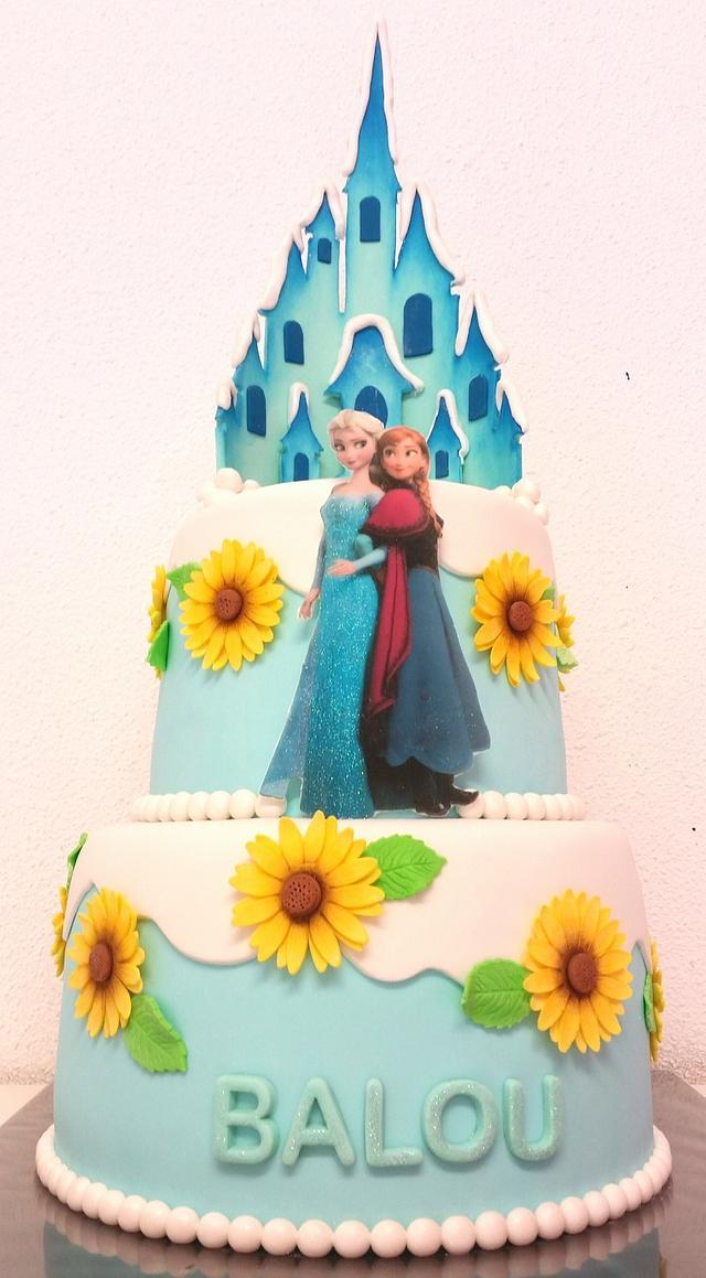 Frozen castle Elsa Anna cake