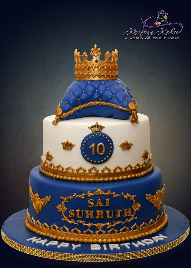Surprising Royal Prince Themed Birthday Cake Cake By Kraftsy Kakes Cakesdecor Birthday Cards Printable Benkemecafe Filternl