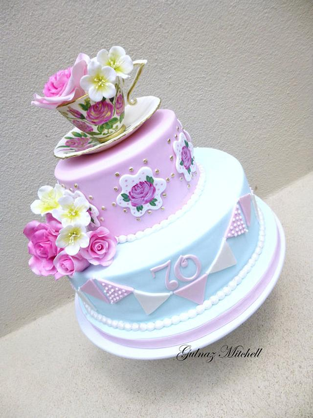 """English High Tea cake """"Lorraine"""" with gumpaste Cup and Saucer"""